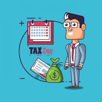 Journée fiscale avec homme d'affaires et set d'icônes