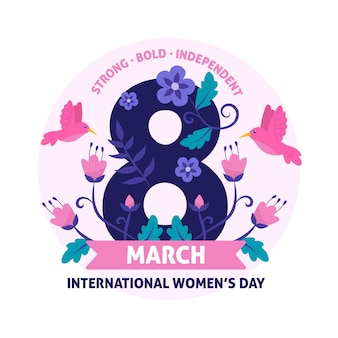 Journée florale des femmes 8 mars avec oiseau