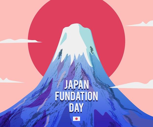 Journée de la fondation de l'illustration de la montagne dessinée à la main