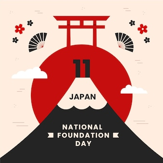 Journée de la fondation illustration plate au japon