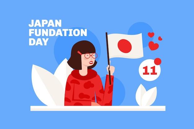 Journée de la fondation illustrée femme tenant un drapeau