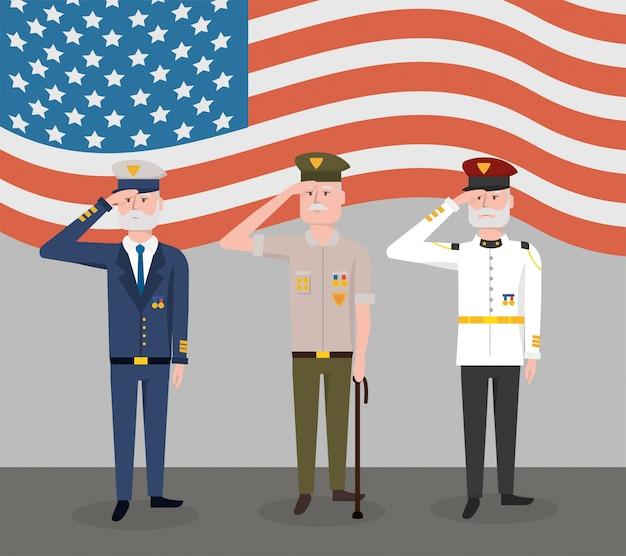Journée des forces armées des anciens combattants avec drapeau