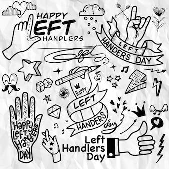 Journée des gauchers. style de tatouage dessiné à la main.