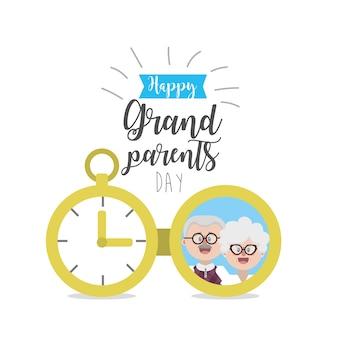 Journée des grands-parents avec un design photo et ruban