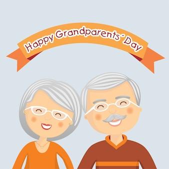 Journée des grands parents heureux avec des cheveux gris