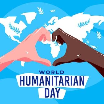 Journée humanitaire mondiale dessinée à la main