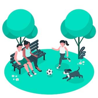 Une journée à l'illustration du concept de parc
