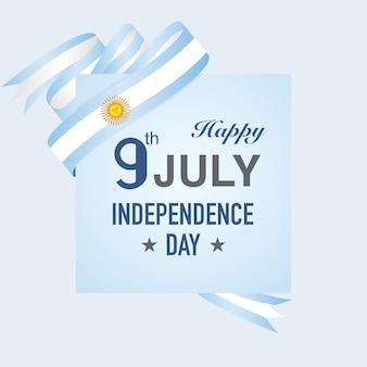 Journée de l'indépendance de l'argentine sur les rubans de drapeau bleu