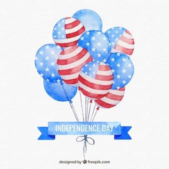Journée de l'indépendance des états-unis avec des ballons aquarelles