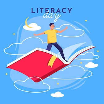 Journée internationale de l'alphabétisation avec un homme volant sur un livre