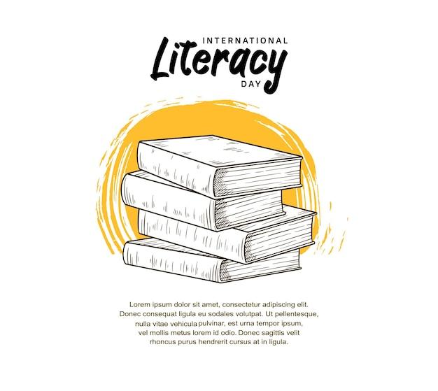 Journée internationale de l'alphabétisation avec illustration de livres et pinceau jaune isolé sur fond blanc