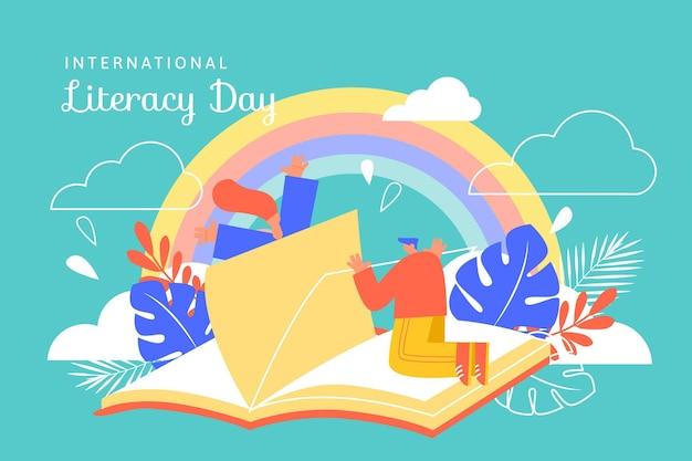 Journée internationale de l'alphabétisation avec livre et arc-en-ciel