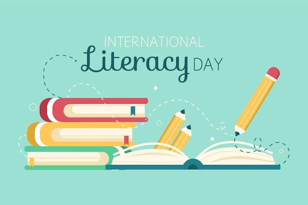 Journée internationale de l'alphabétisation avec des livres et un crayon