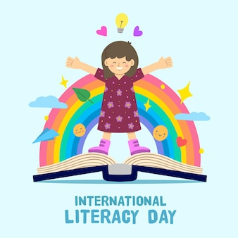 Journée internationale de l'alphabétisation avec personne et arc-en-ciel