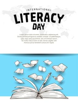 Journée internationale de l'alphabétisation avec stylo à livre ouvert et livres volants fond bleu