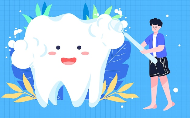 Journée internationale de l'amour des dents illustration de brossage affiche de nettoyage buccal de santé dentaire