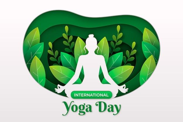 Journée internationale des bannières de yoga dans un style papier