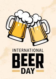 Journée internationale de la bière. affiche rétro, flyer, bannière.