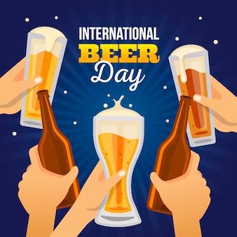 Journée internationale de la bière au design plat