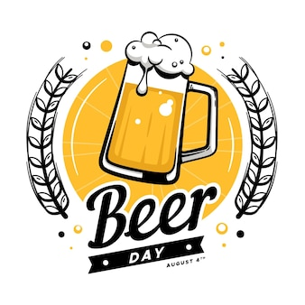 Journée internationale de la bière dessinée à la main