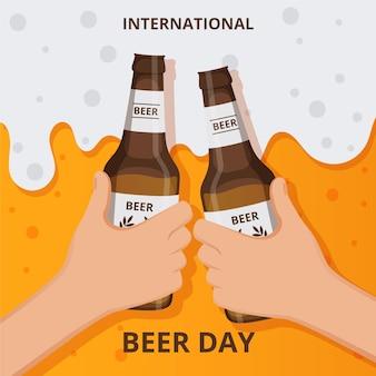 Journée internationale de la bière avec des gens applaudissant avec des bouteilles