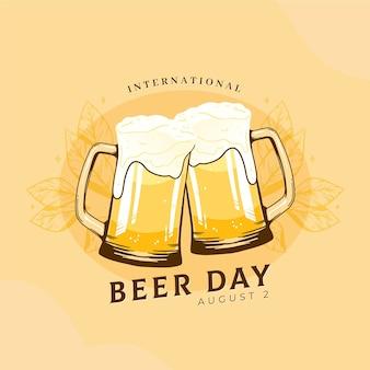 Journée internationale de la bière avec des pintes
