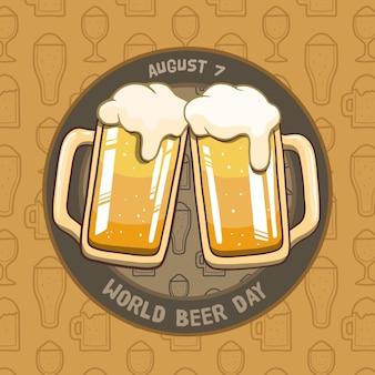 Journée internationale de la bière de style dessiné à la main