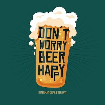 Journée internationale de la bière avec verre mousseux