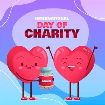 Journée internationale de la charité au design plat