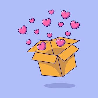 Journée internationale de la charité avec boîte de coeurs flat cartoon icon concept illustration.
