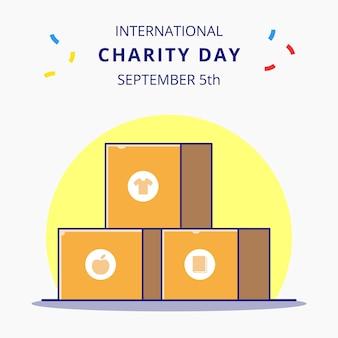 Journée internationale de la charité avec boîte pour le don illustration de concept d'icône de dessin animé plat.