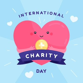 Journée internationale de charité design plat avec coeur