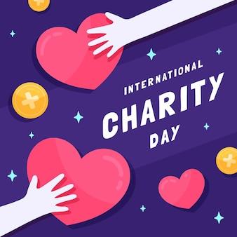 Journée internationale de la charité design plat avec des coeurs et des mains