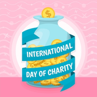 Journée internationale de la charité design plat