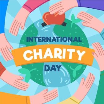 Journée internationale de charité dessinée à la main