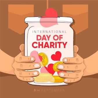 Journée internationale de la charité dessinée à la main