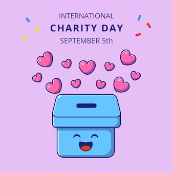 Journée internationale de la charité avec une jolie boîte de coeurs illustration de personnages de dessins animés.