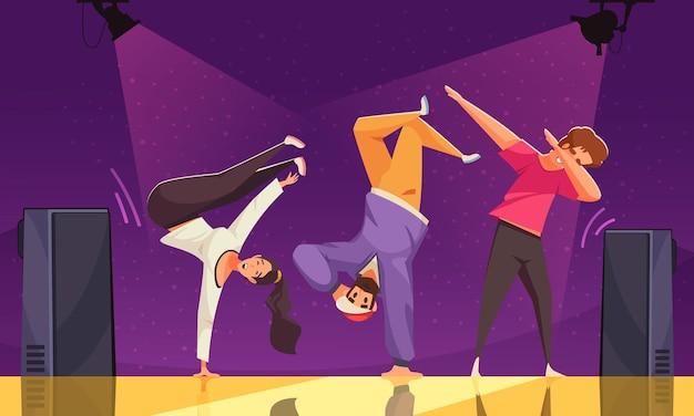 Journée internationale de la danse colorée avec trois adolescents dansant le breakdance sur scène illustration plate