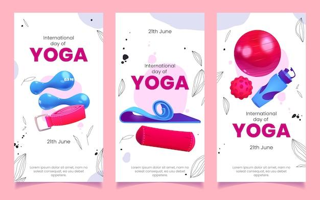 Journée internationale de dessin animé du jeu de bannières de yoga