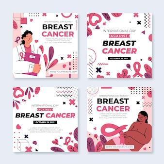 Journée internationale dessinée à la main contre le cancer du sein collection de publications instagram