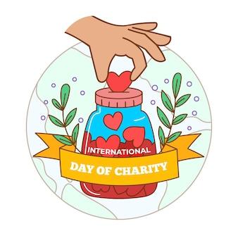 Journée internationale dessinée à la main du concept de charité