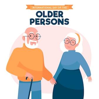 Journée internationale dessinée à la main du fond des personnes âgées