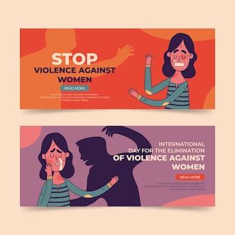Journée internationale dessinée à la main pour l'élimination de la violence à l'égard des femmes ensemble de bannières horizontales