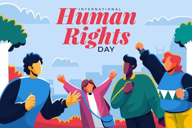 Journée internationale des droits de l'homme design plat