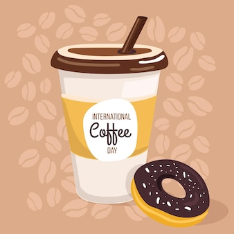 Journée internationale du café design plat