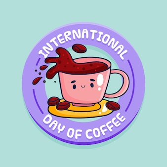 Journée internationale du café design plat
