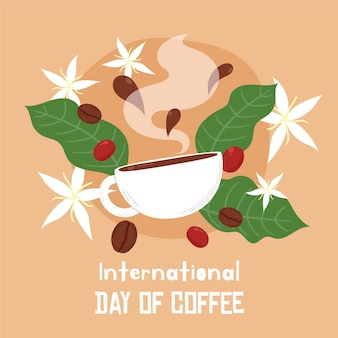 Journée internationale du café dessinée à la main