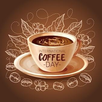 Journée internationale du café dessinée à la main