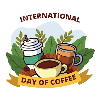 Journée internationale du café de style dessiné à la main