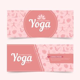 Journée internationale du design plat de bannières de yoga